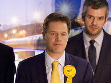 Leader of the Liberal Democrat Party Nick Clegg speaks after retaining his seat of Sheffield Hallam in Sheffield
