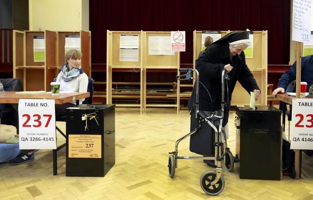 A nun votes in central Dublin as Ireland holds a referendum on same-sex marriage
