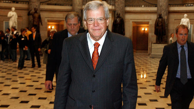 Former Speaker of the House Dennis Hastert, R-Illinois, walks through Statuary Hall on his way to the House floor to make his farewell address to Congress Nov. 15, 2007, in Washington.