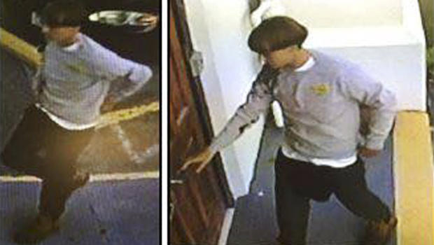 A suspect who police are searching for in connection with the shooting of several people at a church in Charleston, South Carolina, is seen in stills from CCTV footage on a poster released by the Charleston Police Department June 18, 2015.