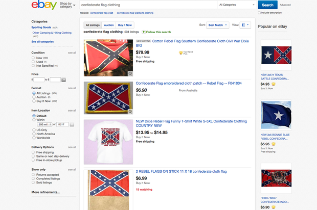 877b242e3e02 Confederate flag - Ebay - Confederate flag controversies and current  sightings - Pictures - CBS News