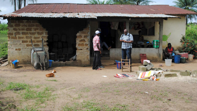 The home of a 17-year-old male student, one of two persons confirmed to be infected with the Ebola virus, is seen in Nedowein, Liberia, July 1, 2015.