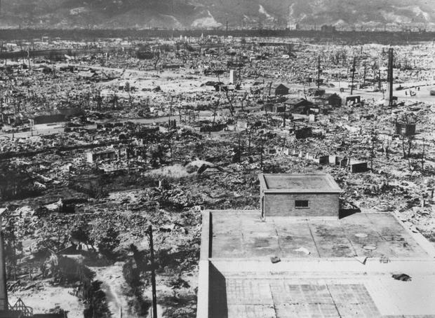 This file photo dated 1945 shows the devastated city of Hiroshima in days after the first atomic bomb was dropped by a US Air Force B-29