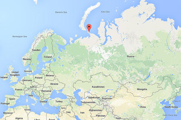 A red pin marks the location of Vaygach island, just off Russia's northern coast