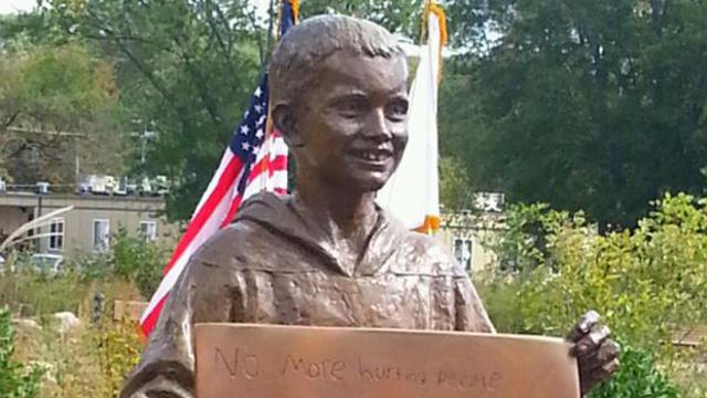 A statue of Boston Marathon victim Martin Richard is seen at Bridgewater State University in Massachusetts.