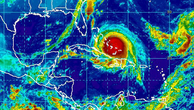 Hurricane Joaquin is seen in this infrared satellite image captured at 9:15 a.m. ET Oct. 1, 2015.