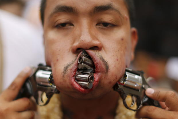 Bizarre piercings at Vegetarian Festival