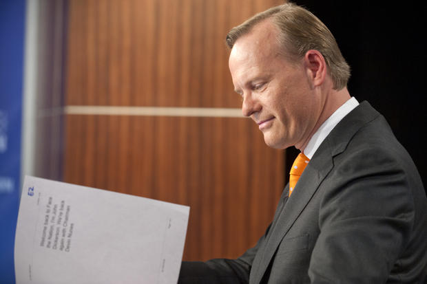 "Democratic debate moderator John Dickerson on the set of CBS' ""Face the Nation."""