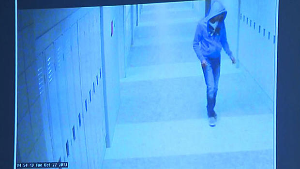 Philip Chism, 14, is seen in surveillance video at Danvers High School in Danvers, Massachusetts, in 2013.