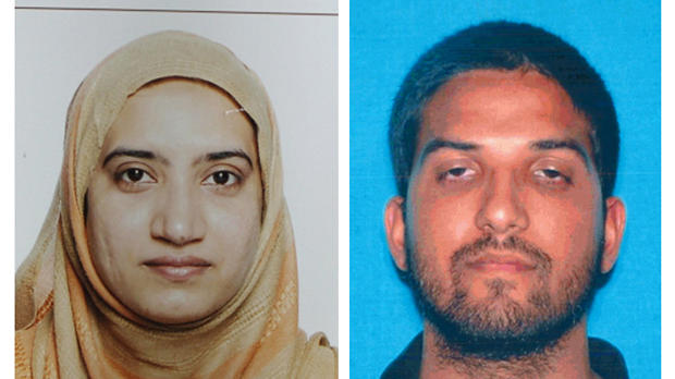 This undated combination of photos provided by the FBI, left, and the California Department of Motor Vehicles shows Tashfeen Malik, left, and Syed Rizwan Farook.