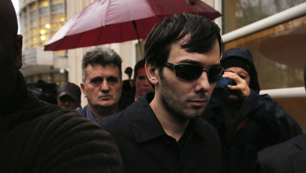 Martin Shkreli, chief executive officer of Turing Pharmaceuticals and KaloBios Pharmaceuticals, departs federal court after an arraignment hearing in Brooklyn, N.Y., Dec. 17, 2015.