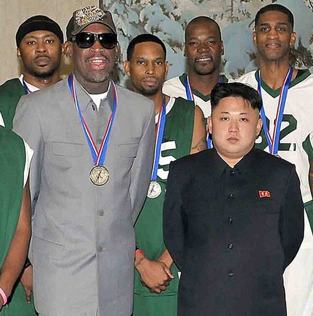 NBA star Dennis Rodman poses with Kim Jong Un in Pyongyang in a photo released in January 2014.