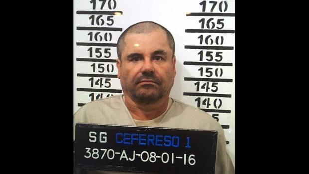 "Mexico's most wanted drug lord, Joaquin ""El Chapo"" Guzman, stands for his prison mug shot with the inmate number 3870 at the Altiplano maximum security federal prison in Almoloya, Mexico, Jan. 8, 2016, in this image released by Mexico's federal government"