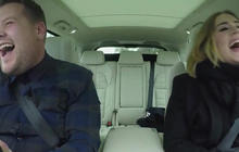 Adele and James Corden jam out in car