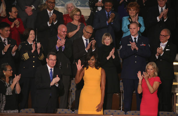 First lady's guests highlight State of the Union themes