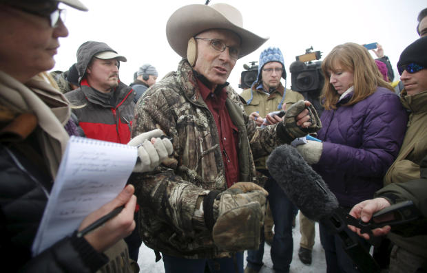 "Arizona cattle rancher Robert ""LaVoy"" Finicum speaking to the media at Malheur National Wildlife Refuge near Burns, Oregon, on Jan. 5, 2016"