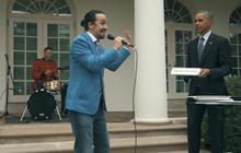"Stars of ""Hamilton"" freestyle rap with Obama"