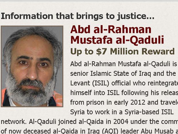An image of senior ISIS figure Abd al-Rahman Mustafa al-Qaduli is seen on the Rewards for Justice website