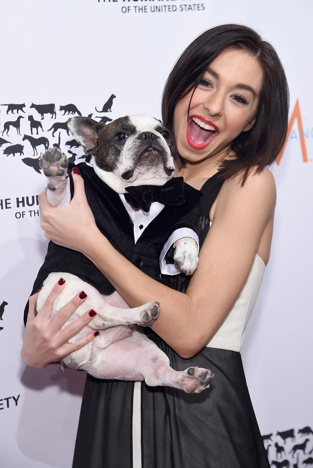 Christina Grimmie with Baxter attend the 2015 To The Rescue! New York Gala at Cipriani 42nd Street on Nov. 13, 2015, in New York City.