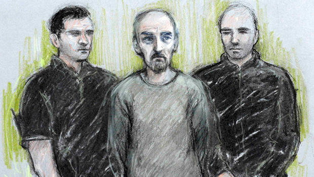 A court artist sketch by Elizabeth Cook shows Thomas Mair, center, appearing at Westminster Magistrates' Court in London June 18, 2016.
