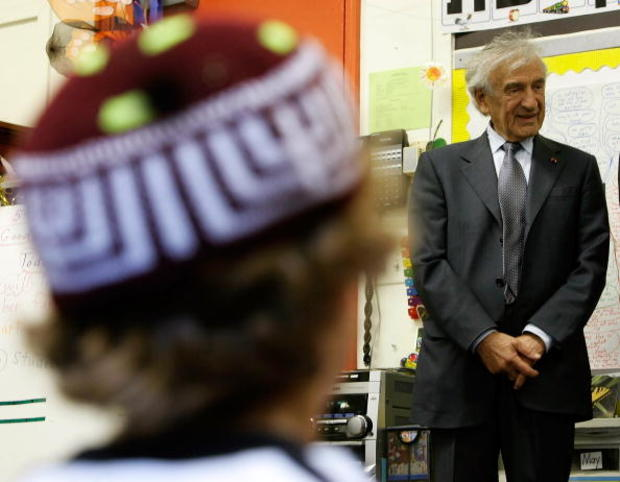 Elie Wiesel, Nobel Peace Prize recipient in 1986, tours a kindergarten class of the Jewish Primary Day School on May 27, 2008, in Washington, D.C. Wiesel, a Holocaust survivor, visited the school and spoke to 4th, 5th and 6th graders as part of JPDS' thir