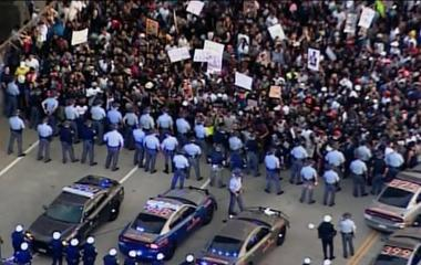 Demonstrators raise their voices against police brutality
