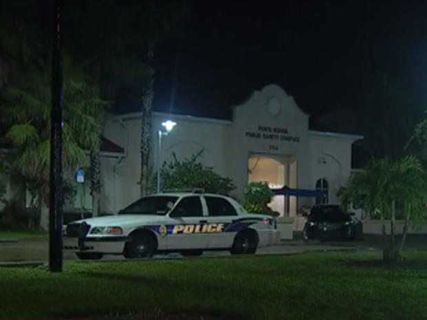 Outside of Punta Gorda, Florida Police Department on night of August 9, 2016