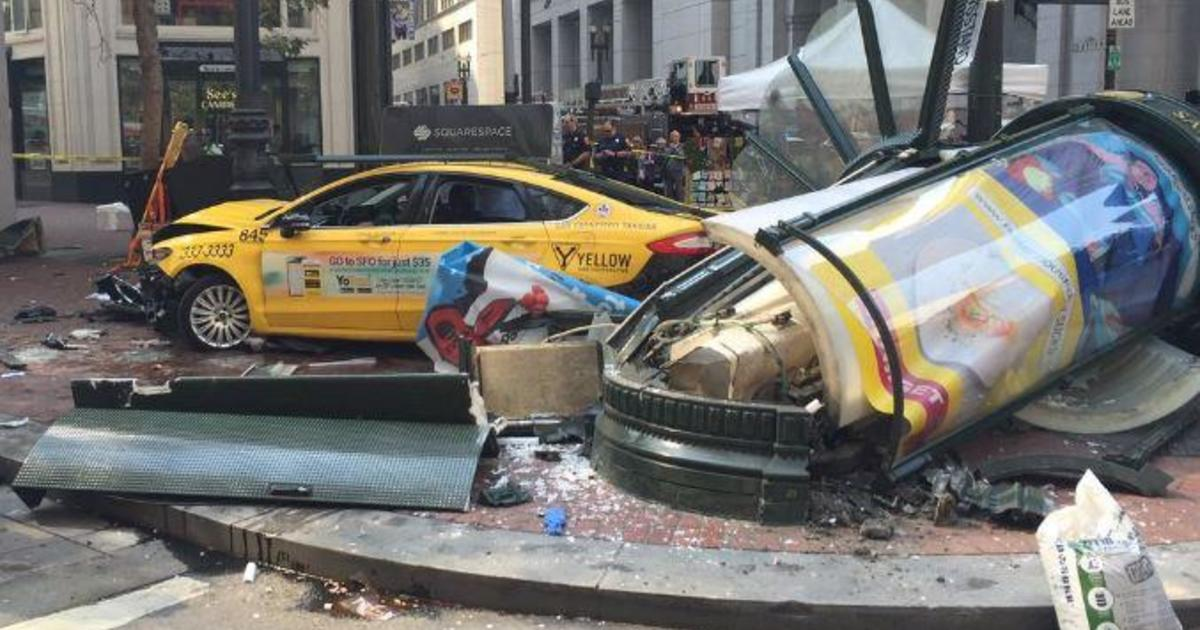 3 injured when taxi jumps curb in busy downtown San