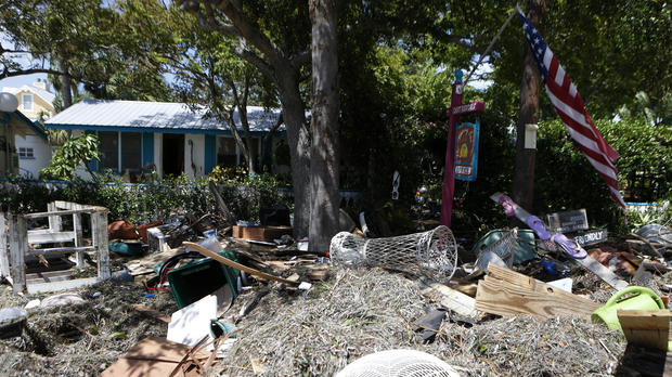 Debris is left outside of the Faraway Inn, left behind by the winds and storm surge associated with Hurricane Hermine, which made landfall overnight in the area on Sept. 2, 2016, in Cedar Key, Florida.