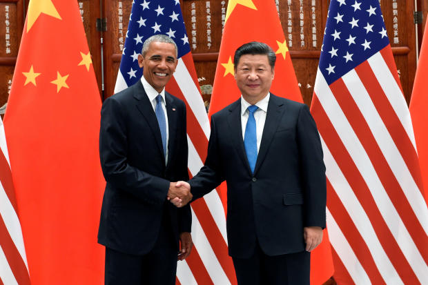 Chinese President Xi Jinping and President Obama shake hands during their meeting at the West Lake State Guest House in Hangzhou, China, Sept. 3, 2016.