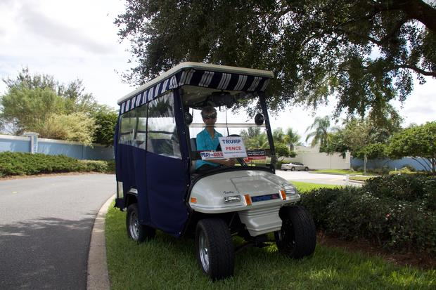 Florida retirees trick out golf carts for Trump - CBS News on golf cart with lift, golf cart with air conditioning, golf cart with bar,