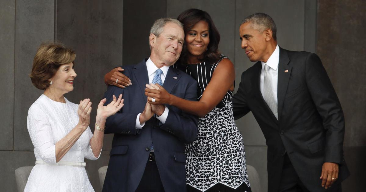 Image of George W. Bush and Michelle Obama strikes a chord ...