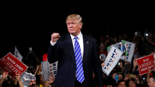 Republican presidential nominee Donald Trump holds a rally with supporters at the Suburban Collection Showplace in Novi, Michigan, Sept. 30, 2016.