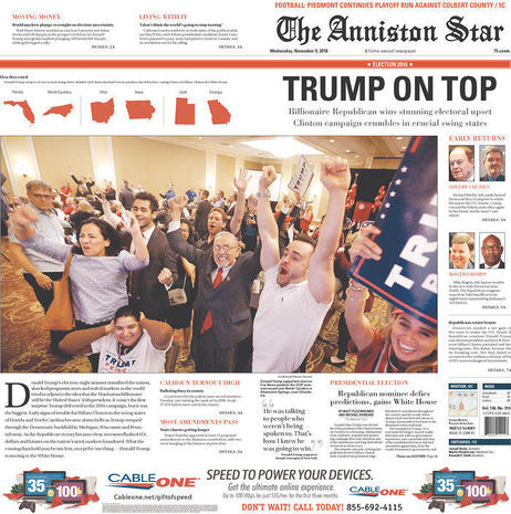 Newspaper front pages tell story of shocking Trump win
