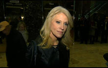 Kellyanne Conway speaks with reporters about Trump's transition