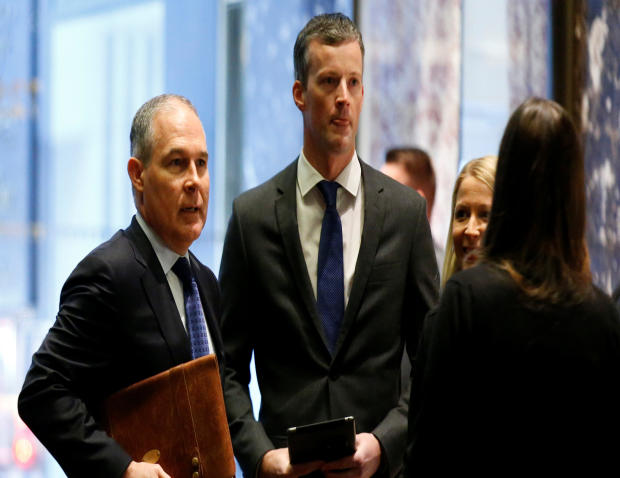 Scott Pruitt, attorney general of Oklahoma, arrives to meet with President-elect Donald Trump at Trump Tower in Manhattan, New York City, Dec. 7, 2016.