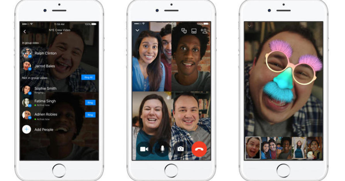 facebook launches group video chat on messenger app cbs news. Black Bedroom Furniture Sets. Home Design Ideas