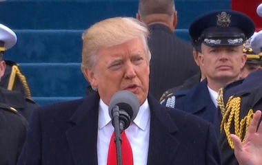 Donald Trump delivers his inaugural address as President of the United States