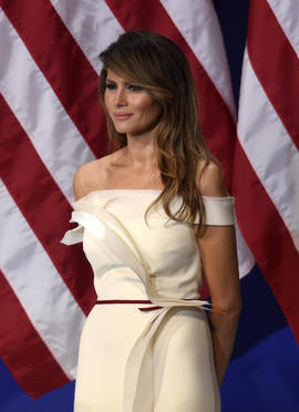 First lady Melania Trump is seen at the Salute to Our Armed Services Inaugural Ball at the National Building Museum in Washington Jan. 20, 2017.