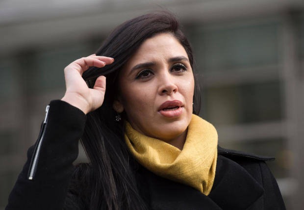 """The wife of Joaquin """"El Chapo"""" Guzman, Emma Coronel Aispuro, exits the federal courthouse in Brooklyn after a hearing in Guzman's case on Feb. 3, 2017, in New York."""