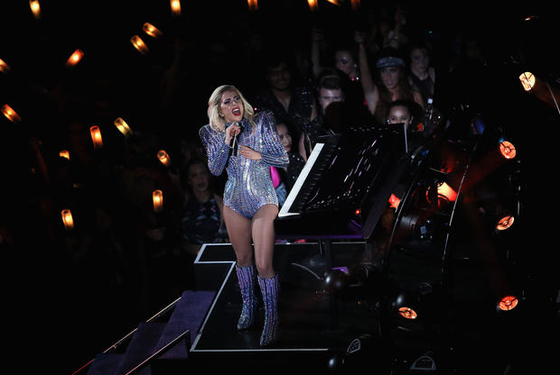 Lady Gaga takes stage at Super Bowl halftime show 2017