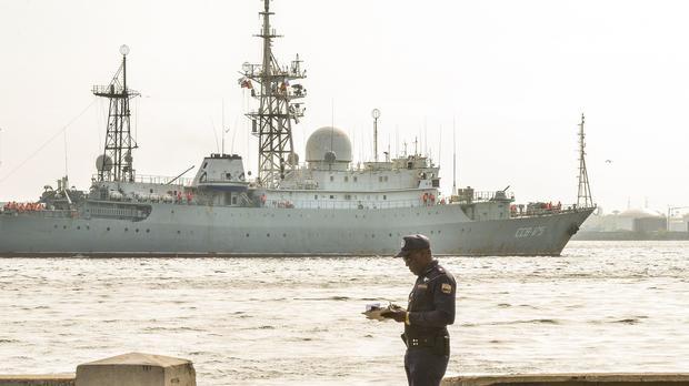 Russian Vishnya (also known as Meridian) class warship CCB-175 Viktor Leonov, arrives at Havana's harbor on Feb. 27, 2014. The Vishnya class ships are used for gathering intelligence.
