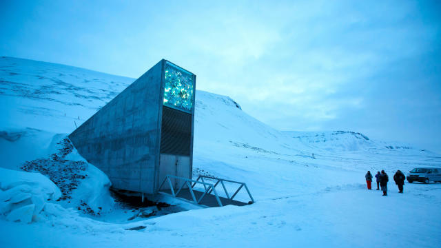 A general view of the entrance of the Svalbard Global Seed Vault outside Longyearbyen on Spitsbergen, Norway, on Feb. 29, 2016.