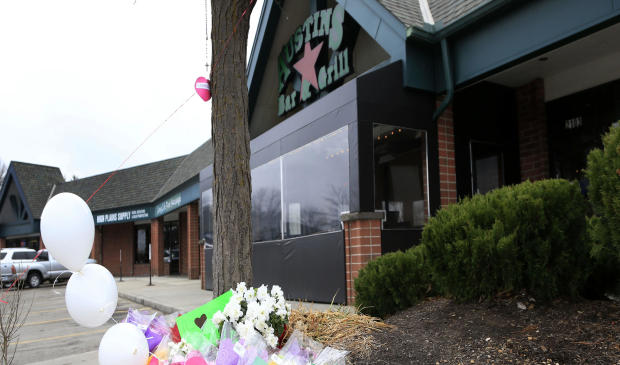 A small memorial for Srinivas Kuchibhotla is displayed outside Austins Bar and Grill in Olathe, Kan., Feb. 24, 2017.