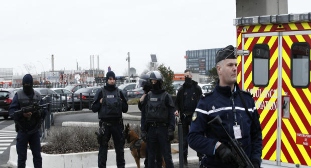 French police forces secure Orly airport, south of Paris, March 18, 2017.