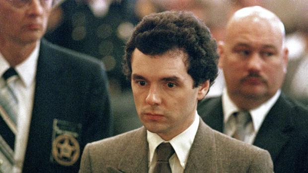 Serial killer Donald Harvey stands before a judge during sentencing in Cincinnati in September 1987.