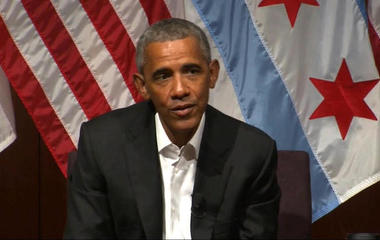 Obama treads carefully in first public speech since leaving W.H.