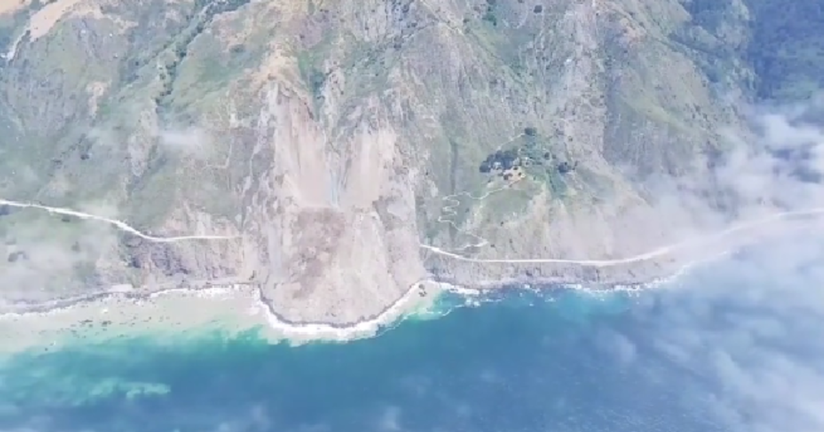 Drone Video Shows Impact Of Landslide On Iconic California Highway Cbs News