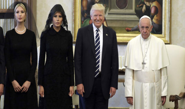 Pope Francis poses with President Trump, first lady Melania Trump and Mr. Trump's daughter Ivanka Trump at the end of a private audience at the Vatican on May 24, 2017.