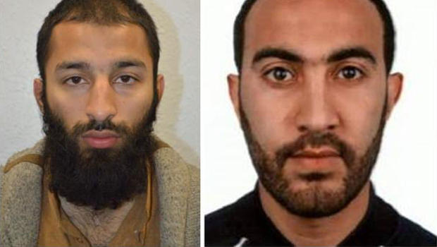 Khuram Shazad Butt, left, and Rachid Redouane are seen in a photo combination released by London's Metropolitan Police on June 5, 2017.